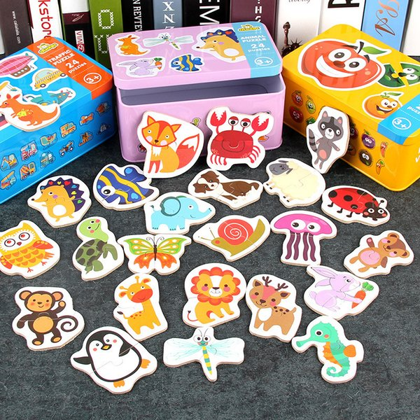 best selling Baby Toy Early Education Cartoon Pairing Puzzle Games Learning Card Wooden For Children Kids Educational Toys Gift Boy
