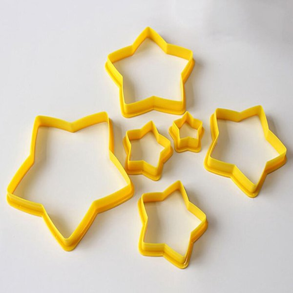 FyFb 6PC Christmas Tree Cookie Cutters Star Shape Fondant Cake Biscuit Molds