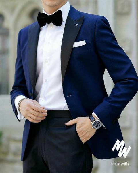 Novios Esmoquin Groomsmen Pico solapa por encargo Un botón Hombres Trajes Boda / Baile / Cena Best Man Blazer (Chaqueta + Pantalones + Corbata) M1279