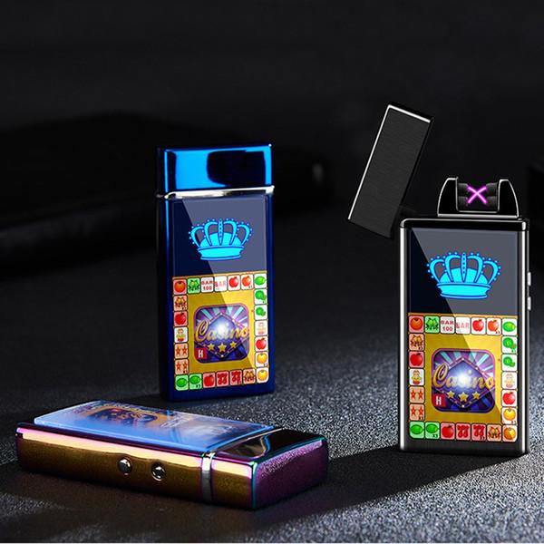 Encendedor de cigarrillos electrónico Encendedor a prueba de viento Doble fuego Cruz Arco doble Pulso Arco eléctrico Colorido Usb Encendedores de carga DBC DH0637-1