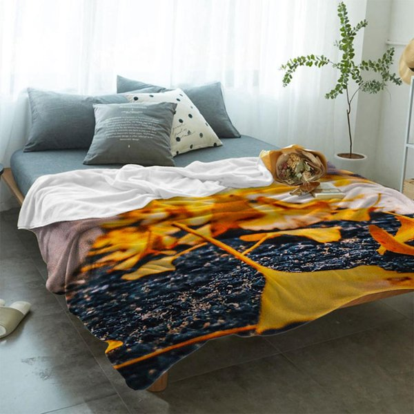 Pleasant Illustration Cartoon Ginkgo Leaf Soft Fleece Throw Blanket Fleece Super Warm Soft Throw On Sofa Bed Domain Blankets White Fuzzy Blanket From Copy03 Caraccident5 Cool Chair Designs And Ideas Caraccident5Info