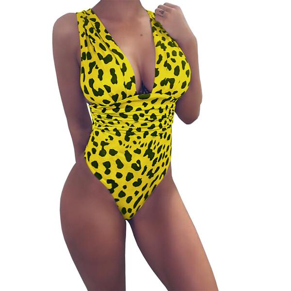 Women's Sexy Deep V-neck Swimwear Summer Leopard Print Backless One Piece Swimsuit Bodysuits Teddies Beach Wear