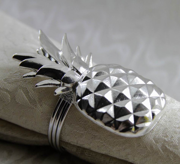 metal napkin ring pineapple shape napkin holder for wedding decoration gold silver 24 pcs free shipping
