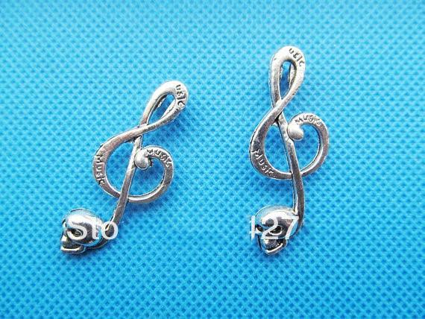 100 stücke Antike Silber ton / Antike Bronze Schädel Music Note Connector Anhänger Charme / Finden, Armband Charme, Halskette Charme, DIY