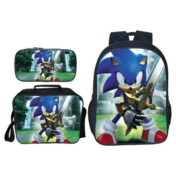 3pcs/set Cartoon Children Sonic Shadow Printing Backpack Kids School Bags Boys Girls Primary Schoolbag Students Suit Backpacks J190521