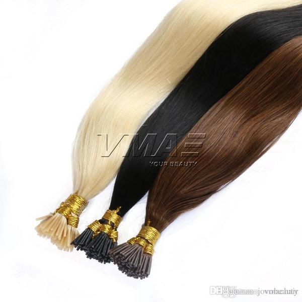 Ben İpucu Önceden bağlanmış Saç Uzantıları 1g / strand 25 s 50 s Keratin Tutkal İnsan Saç 25g 50g # 1B # 4 # 613 Düz 18-24 Inç VMAE Saç