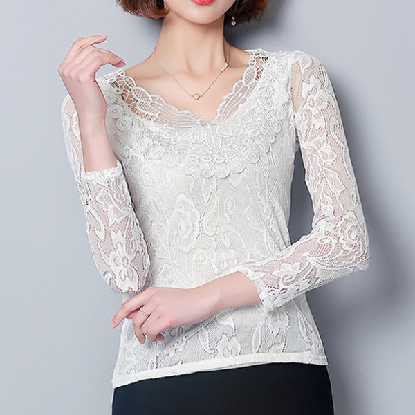4XL Plus Size Tops Casual White Blouses Women Shirts Lace Blouse Chiffon Patchwork Slim Shirt blusas mujer de moda 2019 Spring
