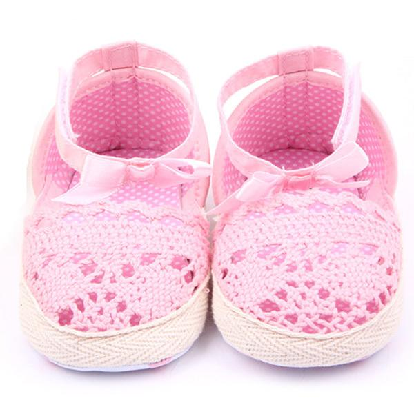 White/Pink Born Toddler Baby Girl Shoes Soft Sole Knit Crochet Summer Shoes