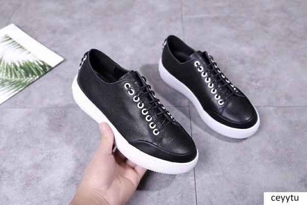 2019 spring new leather lace white shoes front and rear lace decorative non-slip vertical white casual shoes m189601