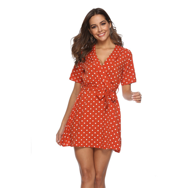 2019 Spring and Summer new Western collar sexy Bandage wave dot dress women Short skirt A-line skirt dress orange