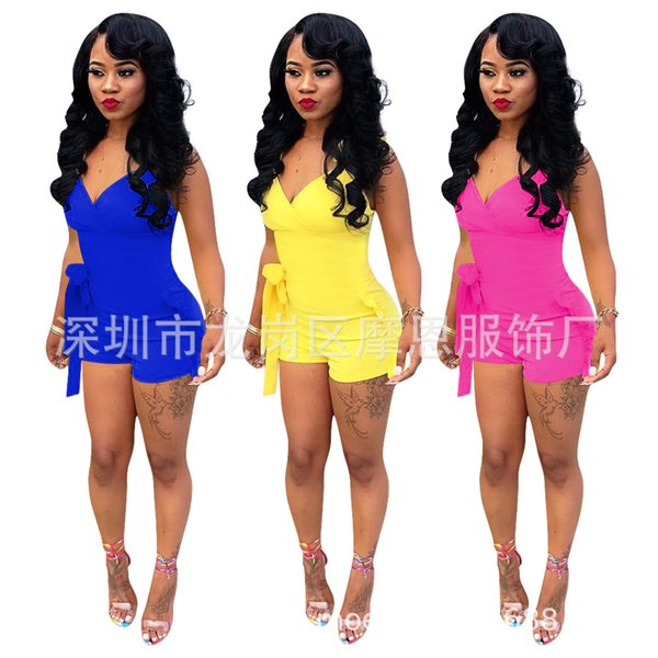 Q105 Europe and America sexy women's explosion models 2019 solid color ruffled invisible zipper jumpsuit shorts