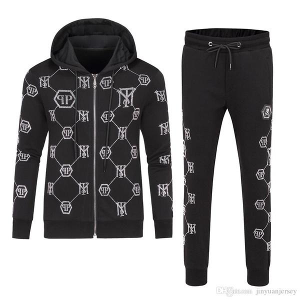 2019 di lusso del Mens Tuta Maserati Sportwear Primavera Autunno maniche lunghe giacche casual con pantaloni casual Jogger Homme tute