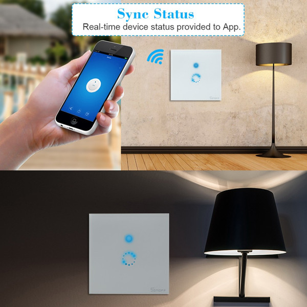 Smart Light Wall Switch Wireless Touch Screen Wifi Switch Remote Control US/EU Standard Work with Alexa Google Home