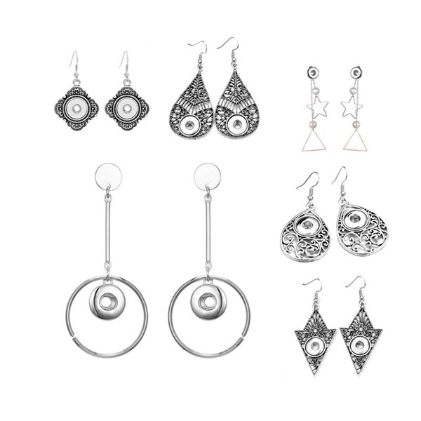 Hot Sale Fashion Interchangeable Crystal 003 Earring Fit 12mm Snap Button Earring For Women Christmas Gfit Charm Jewelry