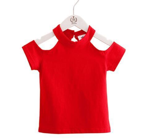 2019 Cotone Estate Ragazze T Shirt Off Spalla Rosso Nero O Collo T-Shirts Bambini Top Tee Ragazza Vestiti per bambini Toddler Baby 2-6T