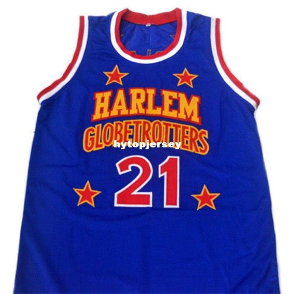#21 Kevin Special K HARLEM GLOBETROTTERS Blue Basketball Jersey Embroidery Stitched Customize any name and name XS-6XL vest Jerseys NCAA