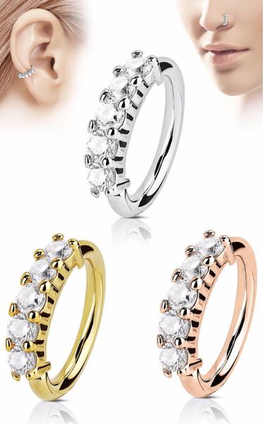 EBay2019 tienda joyería nueva joyería piercing caliente fina zircon nariz joyería anillo de la nariz tres grave