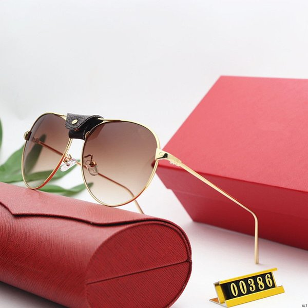 NEW Free shipping 2019 luxury sunglasses 00386 design lens and UV400 lens Picture frame and its metal leg is wrapping material