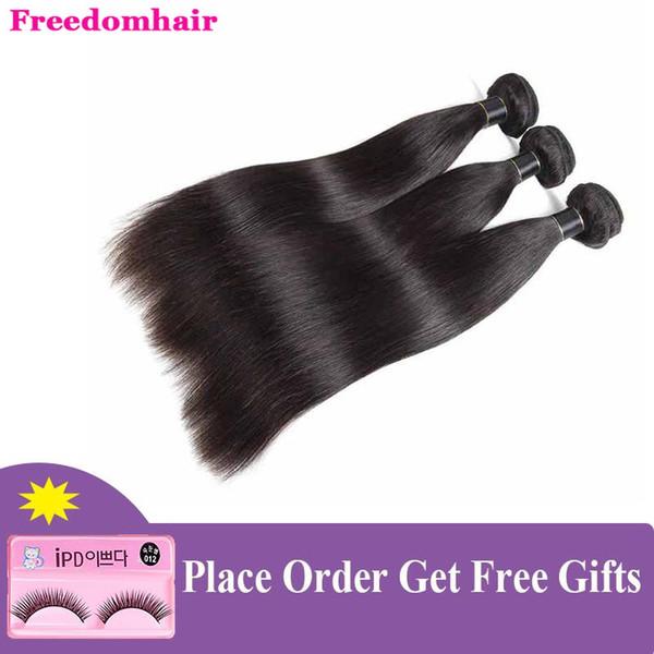 Бразильский Straight Связка волос малайзийского выдвижение человеческих волос Straight 10 «-26» ткет 100g / шт Бразильской Дева волосы утки Natural Black