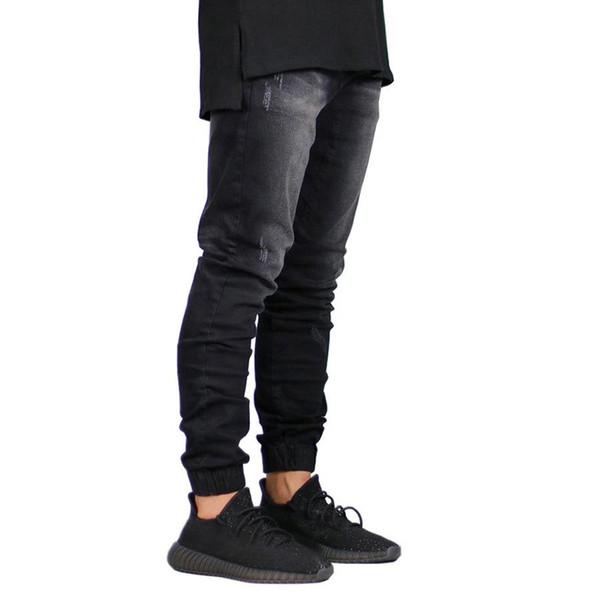 DOMBBFY Slim hip hop Jeans Men Washed Autumn Vintage Denim Pencil Pants men's Jogger 2019 Sexy Hole Ripped Male Zipper Jeans