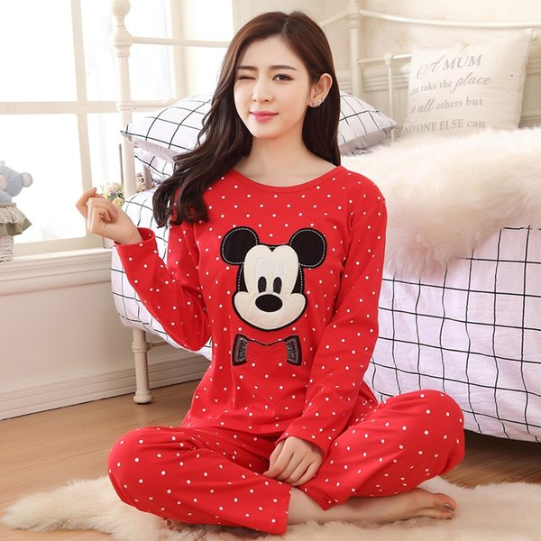 Mais recente pijama mulheres pijamas nightwear manga comprida mulheres dos desenhos animados sleepwear set pijamas