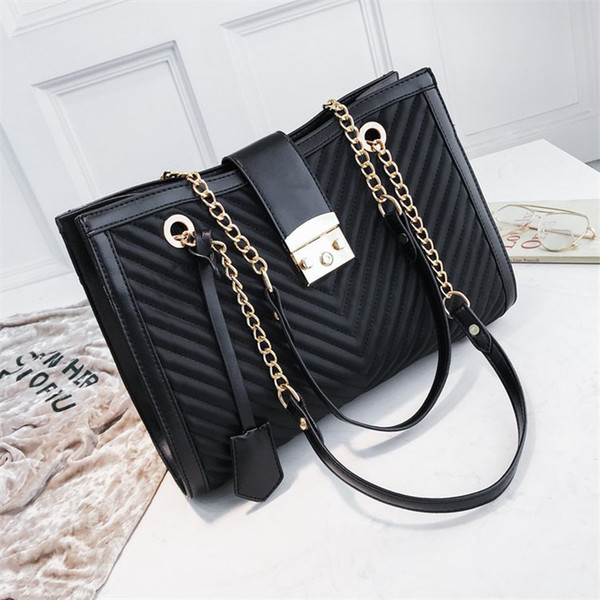 Luxury Handbags Women Bags Designer Brand Tote Fashion V Casual Leather Chain Large Shoulder Bag Crossbody Bags For Women 2019