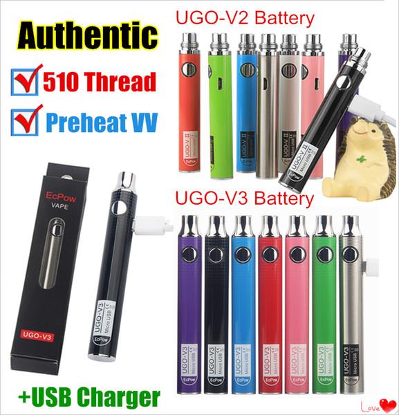 Auténticos UGO-V II 2 510 Vape Pen UGO V3 Kits de batería de precalentamiento de voltaje variable EVOD eGo Micro USB Passthrough cartucho ecigs de batería