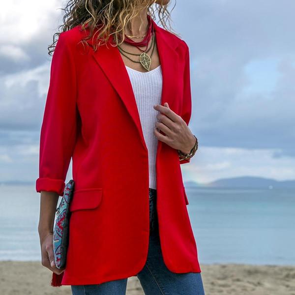 Moda mujer abrigos bolsillos casual outwear señoras de manga larga frente abierto ligero ventas calientes Oficina chaqueta de solapa