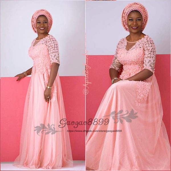 2019 Modest Blush pink Plus Size Mother Of The Bride Dresses half sleeves scoop neck floor length soft tulle african formal Evening gowns
