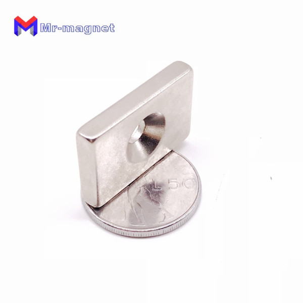 2019 imanes New Real Refrigerator Magnets 8pcs/lot F30x20x5 mm Hole 5mm N35 Strong Square Ndfeb Magnet 30*20*5 Neodymium Magnets 30x20x5-5mm