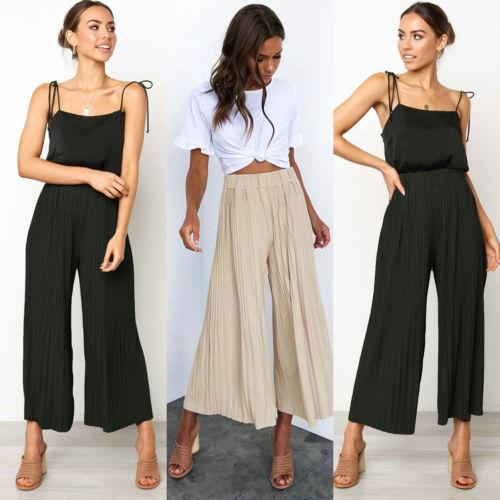 2019 women ladies high waist pants pleated wide leg flare long pants fashion casual loose trousers - from $17.87