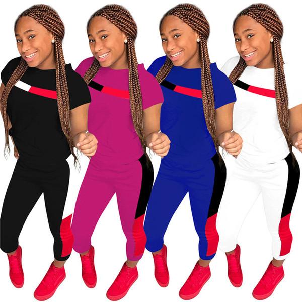 Summer Short Sleeve Women Tracksuit Patchwork T shirt + Pants Leggings 2 Piece Outfits Casual Sweat Sports Suit Ladies Clothes S-2XL A418