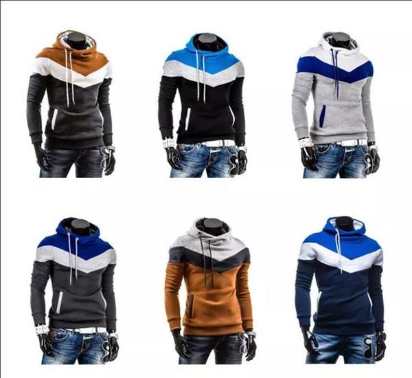 Hoodies Homens Pulôver Sportswear Listrado Patchwork de Lã Camisolas de Manga Longa Streetwear hoodies para homens Casaco Sweatershirts