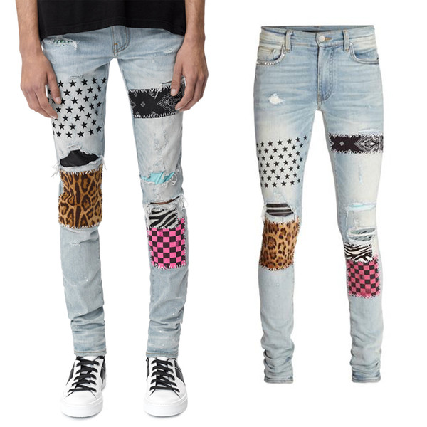 Studs dos homens Patch Biker Jeans Slim Fit Motociclo Casual Moda Denim Calças De Algodão Calças Compridas Homem
