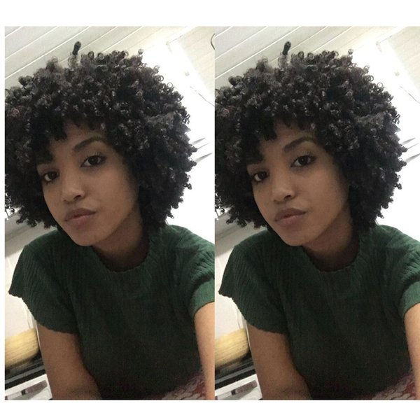 high quality new style soft kinky curly wig women brazilian Hair African American simulation human hair short bob curly wig for ladies
