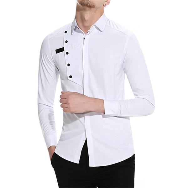 Compre Tops Del Boda Blanca La Moda Smoking Varón Camisa Elegante De Novedad Blusa Manga Larga Ropa Hombres Partido 35ARL4j