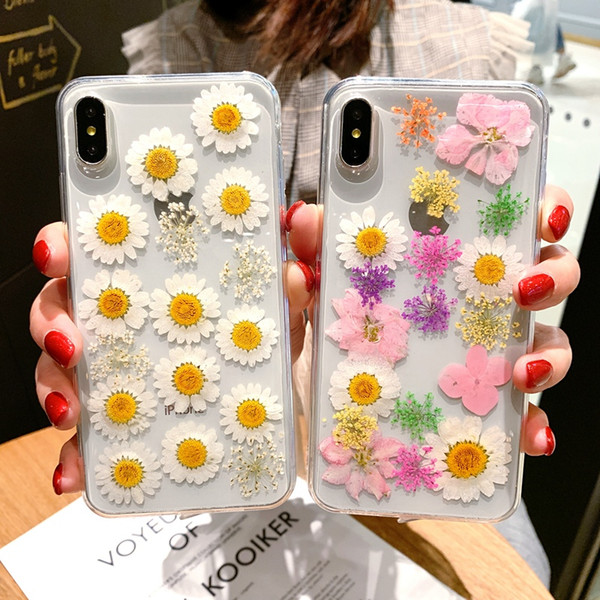 Real Flowers Dried Floral Transparent Soft TPU Cover For Coque iPhone X XR XS Max Phone Case For iphone 6 6S 7 8 Plus Cover Coque