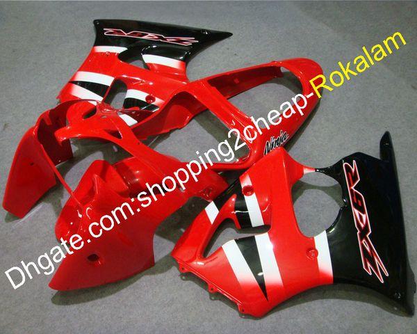 Carenado para Kawasaki NINJA ZX6R 00-02 ZX 6 R 636 ZX-6R ZX636 ZX-636 2000 2001 2002 Rojo Negro Carenados Kit blanco (moldeo por inyección)