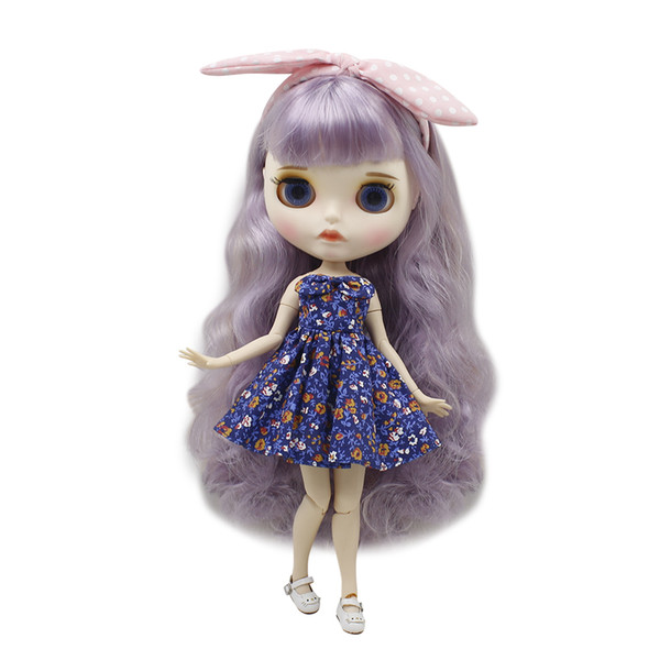 Blyth nude doll 30cm white skin Cute mixed color long curly hair 1/6 JOINT body matte face with eyebrows Lip gloss ICY DIY toy