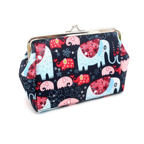 Canvas High Quality Women Lady Retro Vintage Elephant Small Wallet Hasp Purse Clutch Bag Bolsa Feminina Pequena HW