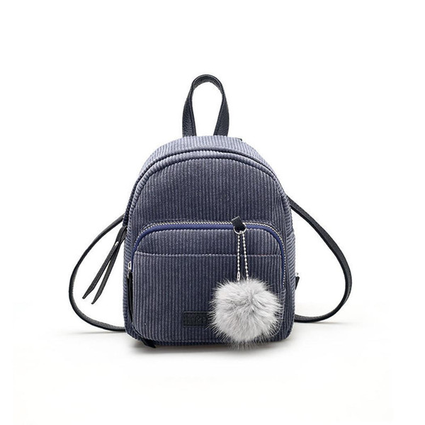 Women Casual Solid Square Zipper Hair Polyester Ball Soft Shoulder Bag Interior Pocket Mini Backpack 2