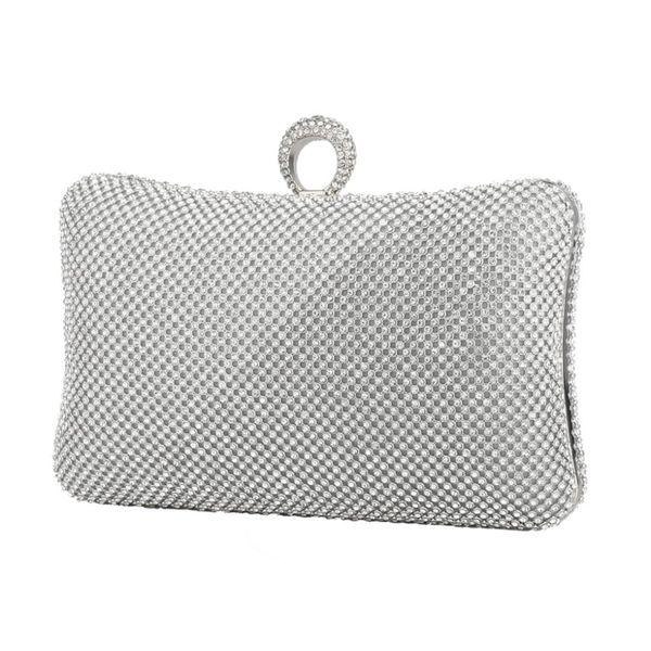 Ladies Evening Party Clutch Bag Silver Evening Rhinestone Handbag Chain Women Wallet Purse For Cellphone Lipstick Wedding Clutch