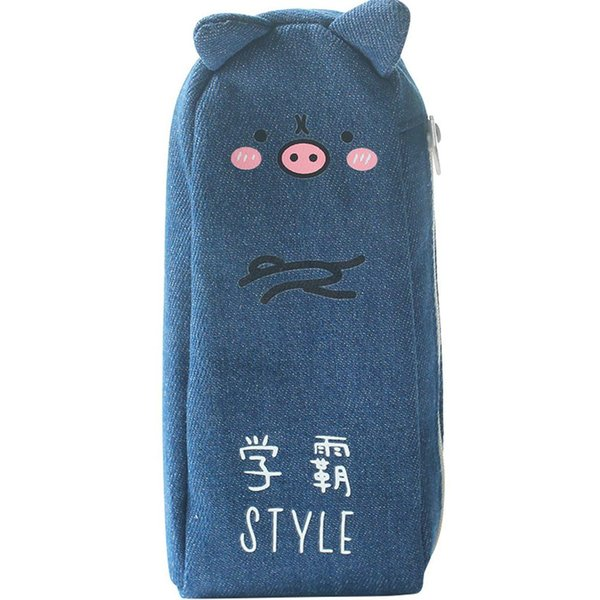 2019 New Cute Cartoon Pig Denim Pen Bag Creative Makeup Container Pencil Protection Holder r20