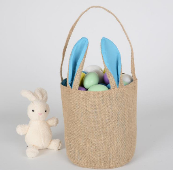 Rabbit Ear Cotton Linen Easter Egg Bag Bunny Ear Shopping Tote kids Jute Cloth Hand-painted DIY Creative Candy Gift Bag Round Bottom event