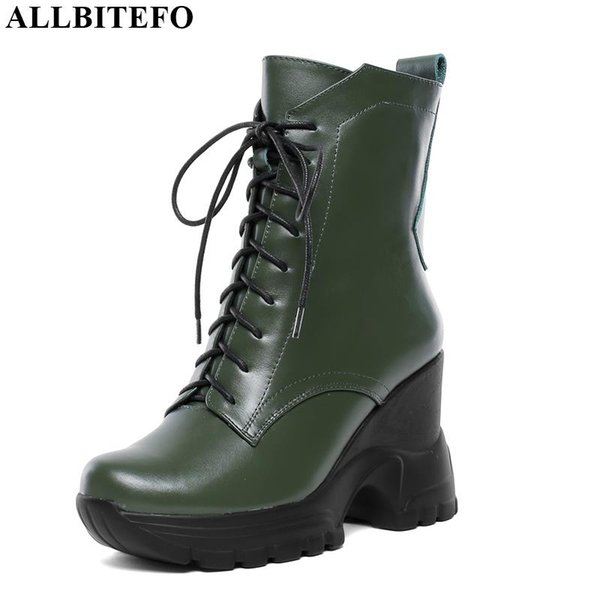 ALLBITEFO genuine leather ankle boots new brand fashion high heel girl boots lace up Autumn Winter hot sale women