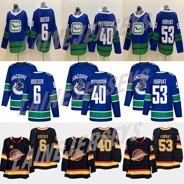 Vancouver Canucks # 40 Elias Pettersson # 6 Brock Boeser # 53 Bo Horvat 33 Henrik Sedin 10 Pavel Bure 89 Alexander Mogilny Hockey Maillots