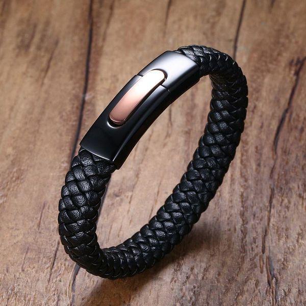 Mens Braided Leather Bracelets In Black Stainless Steel Matt Dull Flat Buckle Locking Cuff Bangle Men Wristband Male Jewelry Y19051101