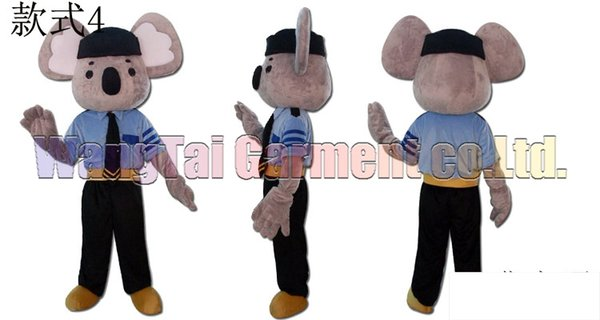 Polícia Koala fantasia de mascote frete grátis tamanho adulto, Koala terno mascote brinquedo de pelúcia goll carnaval anime filme mascote clássico dos desenhos animados