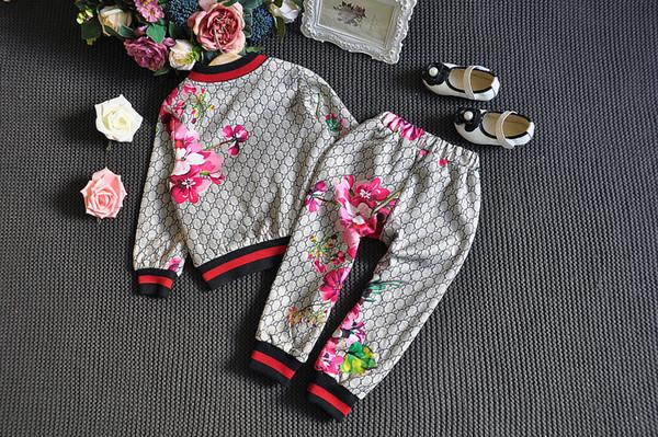Мода Детская одежда версия малых и средних мальчиков и девочек стерео цветы с длинными рукавами молния рубашка + брюки