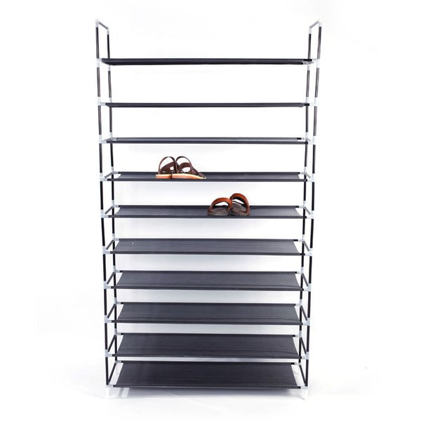 Simple Assembly 10 Tiers Non-woven Fabric Rack With Handle Black Shoe Storage Cabinet Organizer For Home Dormitory Shoes Q190605